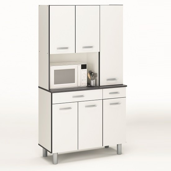 Ardent Storage Cabinet In White And Grey With 6 Doors