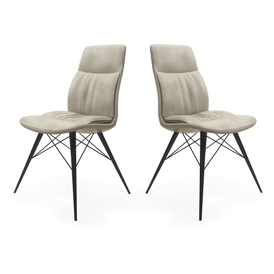 Ardoch Faux Leather Dining Chair In Antique Beige In A Pair
