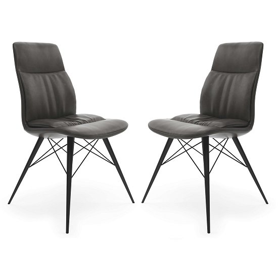 Ardoch Faux Leather Dining Chair In Antique Grey In A Pair