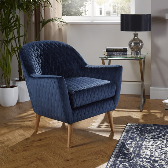 Ardoise Fabric Lounge Chair In Blue Velvet With Wooden