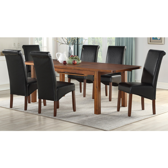 Areli Acacia Extending Dining Set With 4 Black Sika Dining Chair