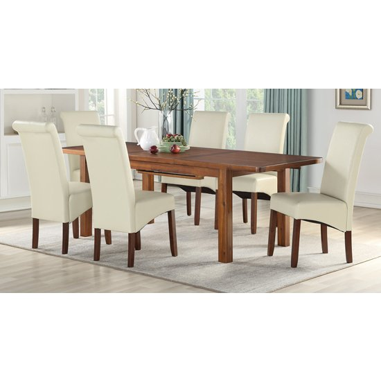 Areli Acacia Extending Dining Set With 4 Cream Sika Dining Chair