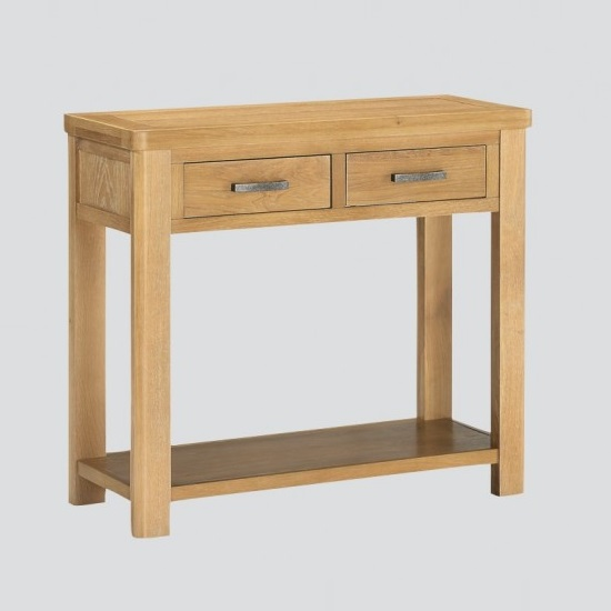 Areli Large Wooden Console Table In Washed Oak Finish