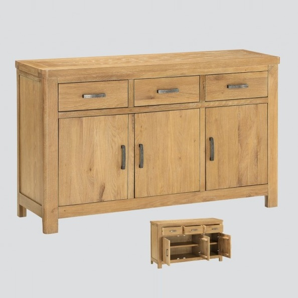 Areli Large Wooden Sideboard In Washed Oak Finish