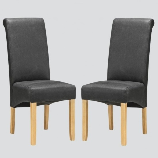 Areli Dining Chairs In Grey And Washed Oak In A Pair