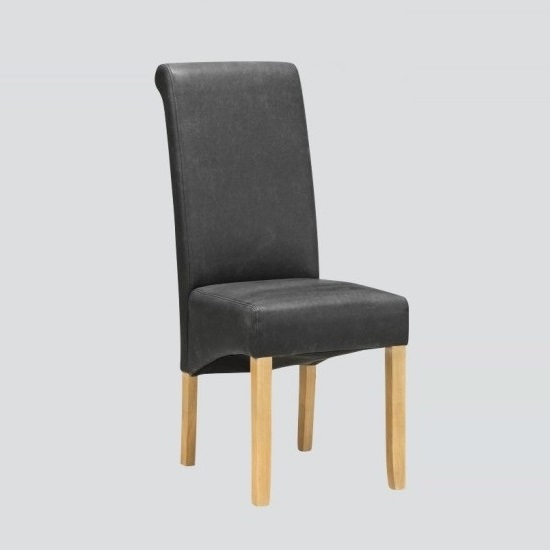 Areli Dining Chairs In Grey Faux Leather And Washed Oak