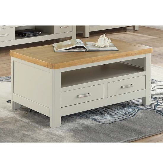 Areli Stone Painted Coffee Table With 2 Drawers