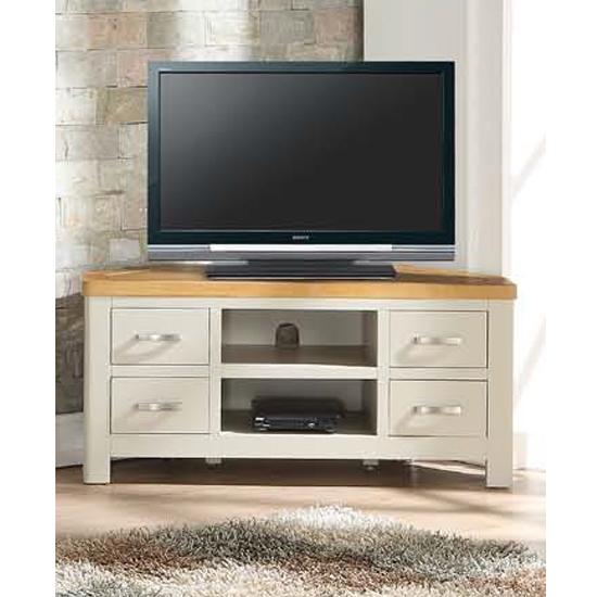 Areli Stone Painted Corner TV Unit With 4 Drawers