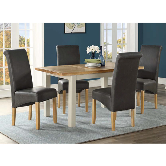 Areli Stone Painted Extending Dining Set 4 Black Sika Chairs