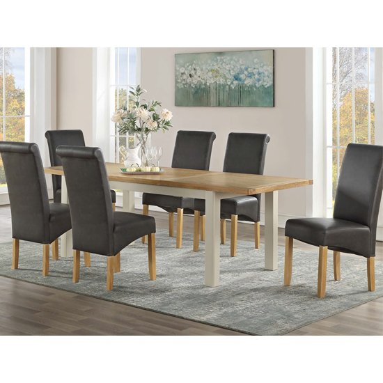 Areli Stone Painted Extending Dining Set 6 Black Sika Chairs