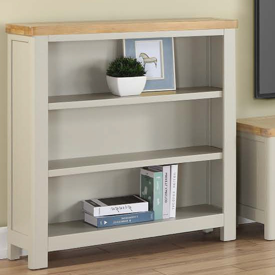 Areli Stone Painted Low Bookcase With 2 Shelves