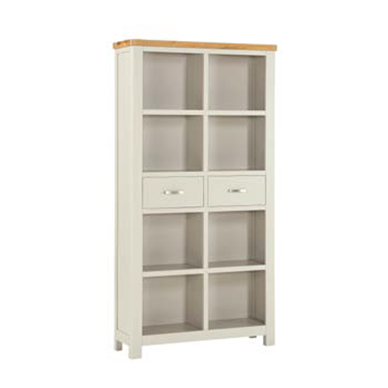 Areli Stone Painted Tall Bookcase With 2 Drawers_2
