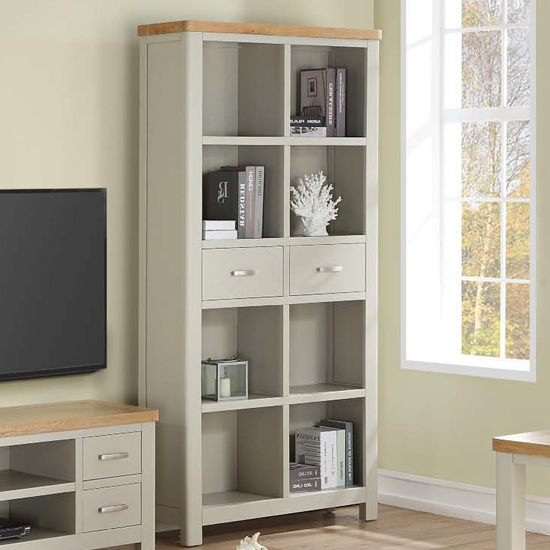 Areli Stone Painted Tall Bookcase With 2 Drawers_1