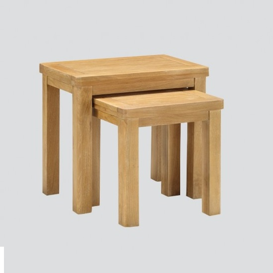 Areli Wooden Nest Of Tables In Washed Oak Finish