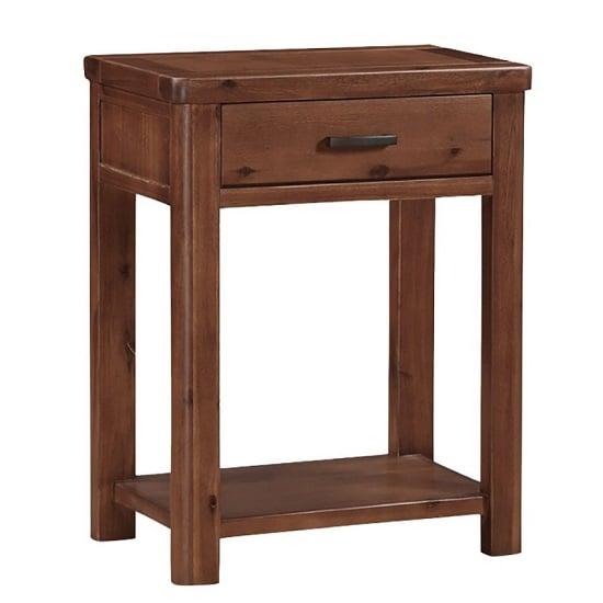 View Areli wooden small console table in dark acacia finish