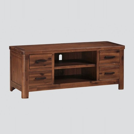 Areli Wooden TV Stand In Dark Acacia Finish