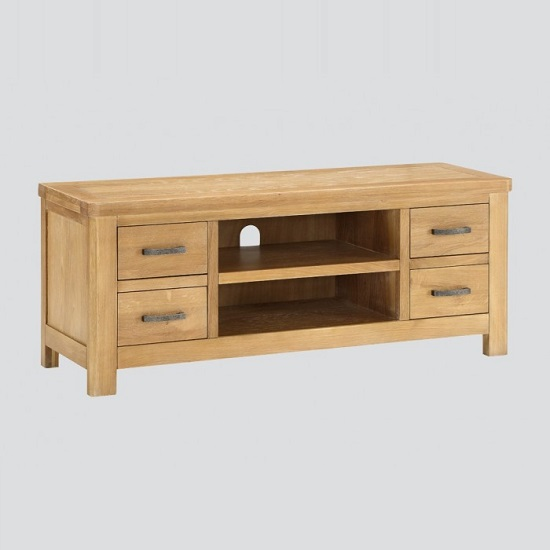 Areli Wooden TV Stand In Washed Oak Finish