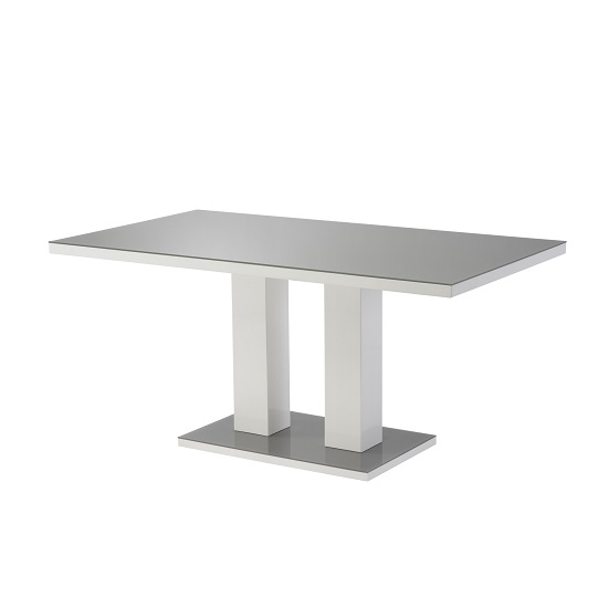 Arena Large Glass Dining Table In Grey And High Gloss