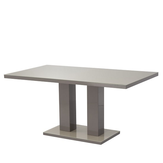 Arena Glass Dining Table In Latte And High Gloss