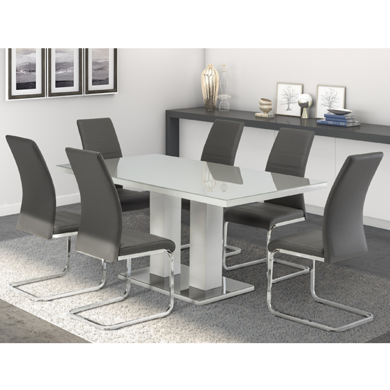 Arena Grey Gloss Glass Dining Table With 4 Soho Grey Chairs