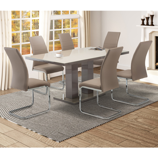 Arena Latte Glass Dining Table With 6 Soho Cappuccino Chairs