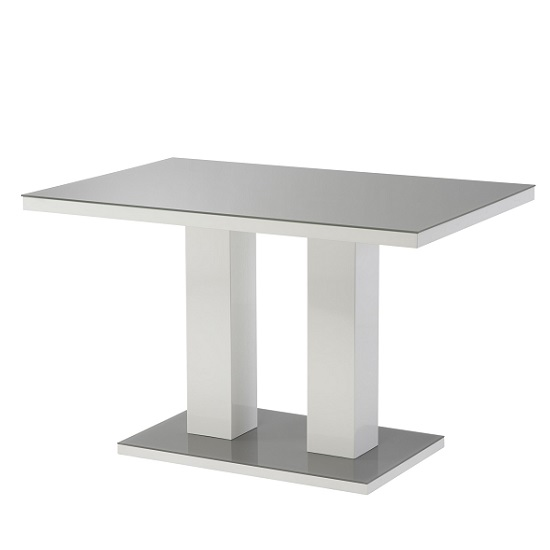 Arena Small Grey Glass Dining Table And White High Gloss