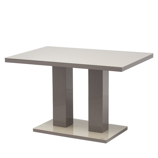 Arena Small Latte Glass Dining Table With High Gloss