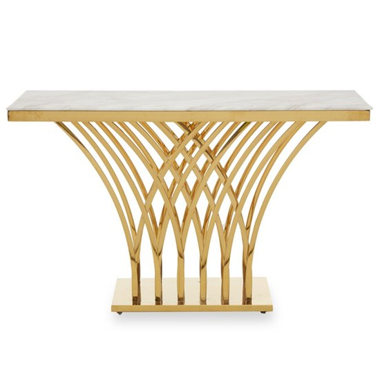 View Arenac white marble top console table with gold metal frame