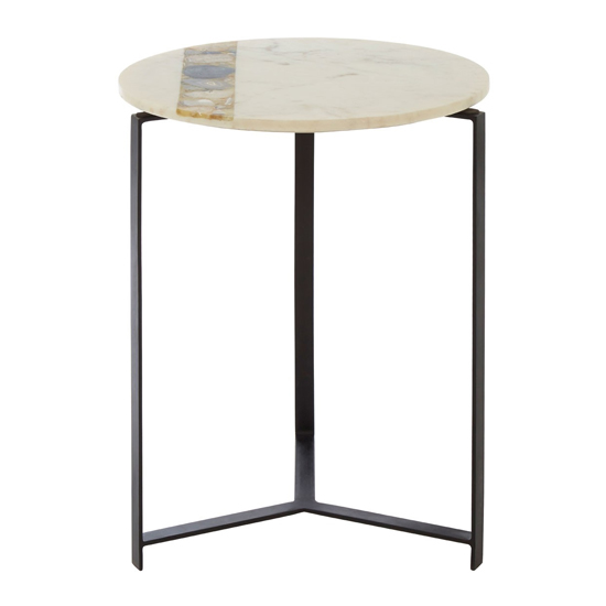 Arenza Agate Stone Round Side Table In Black Frame
