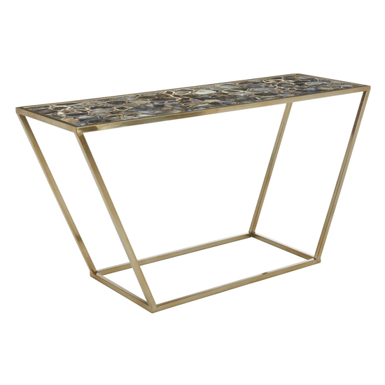 Arenza Black Agate Top Console Table With Gold Metal Frame