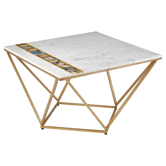 View Arenza marble coffee table square in white with metal frame