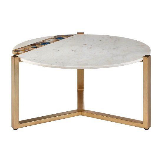 Arenza Marble Coffee Table In White With Metal Frame