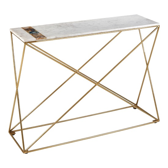 Arenza Marble Console Table Rectangular In White And Metal Frame