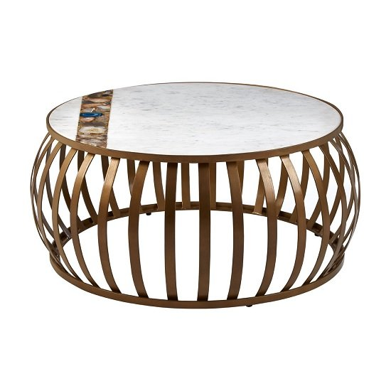 Arenza Marble Coffee Table Round In White With Metal Frame