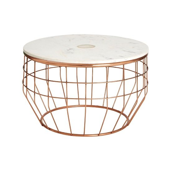 View Arenza marble coffee table round in white and copper finish