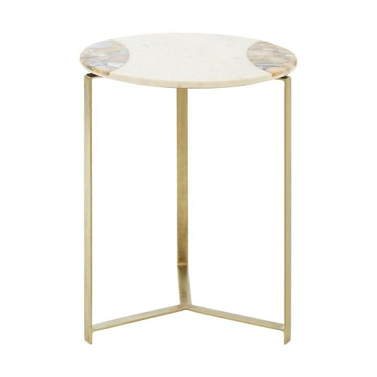 Arenza Marble Side Table In White With Brass Finish Legs