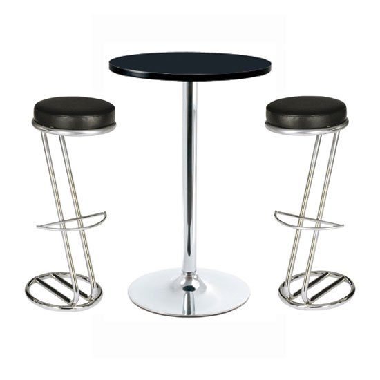 Sam kitchen bar stool with black seat and chrome base buy modern bar stools - Table bar 2 tabourets ...