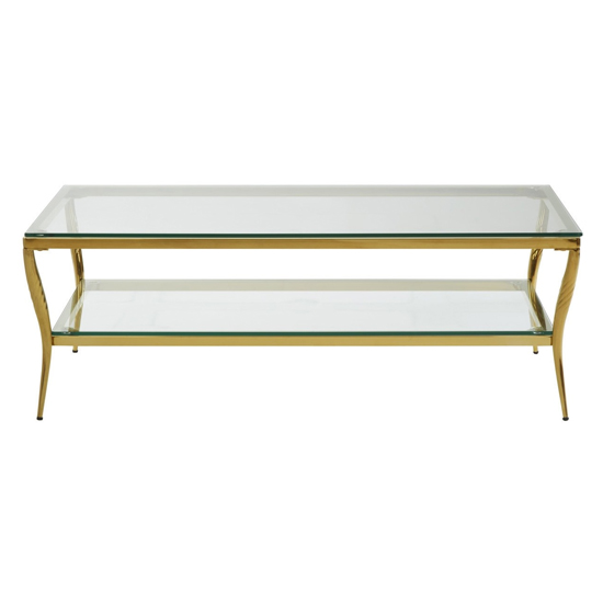 Arezza Glass Coffee Table With Gold Legs