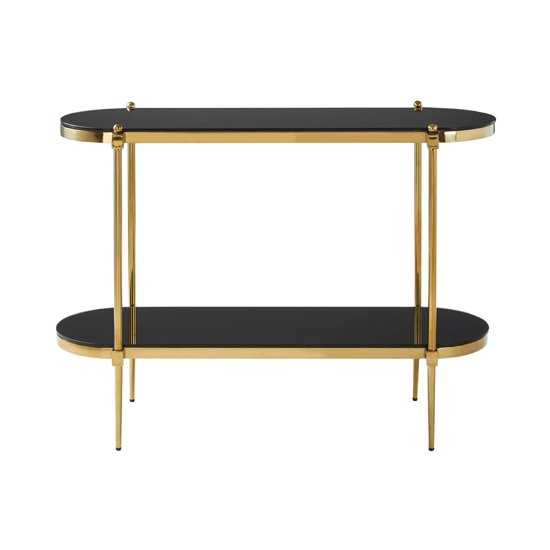 Arezza Glass Console Table In Black And Gold