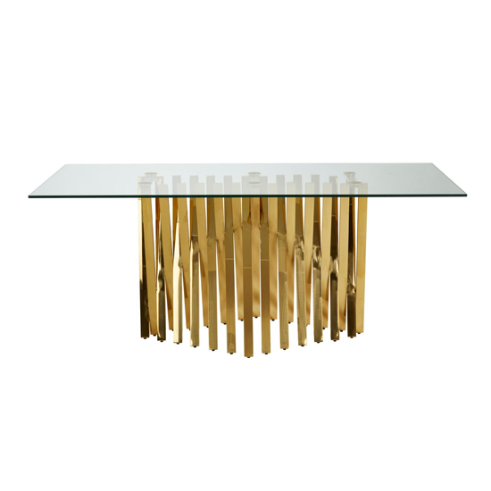 Arezza Glass Dining Table With Gold Base