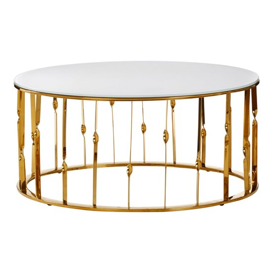 Arezza White Glass Coffee Table In Gold