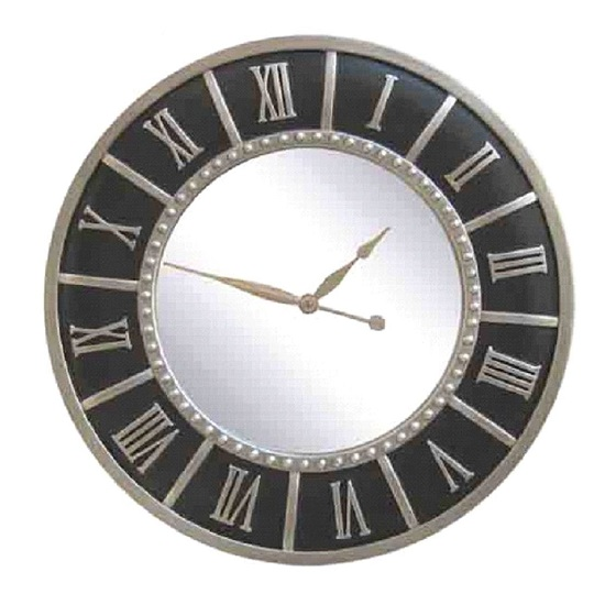 Argenta Wall Clock Round In Black Frame With Silver Leaf