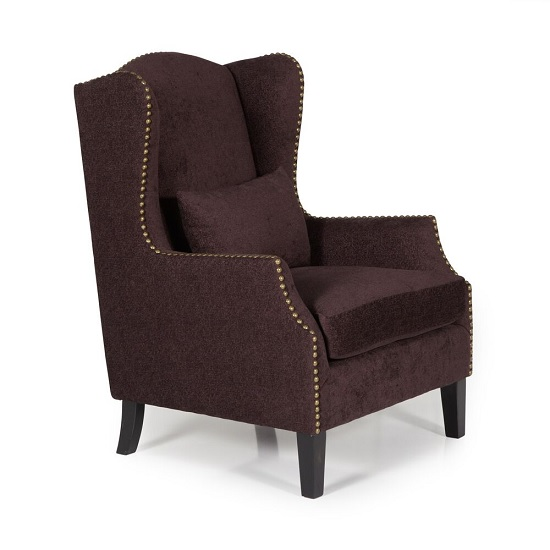Argyle Fabric Lounge Chair In Aubergine With Wooden Legs