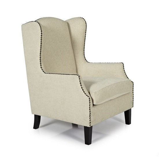 Argyle Fabric Lounge Chair In Cream With Wooden Legs_1