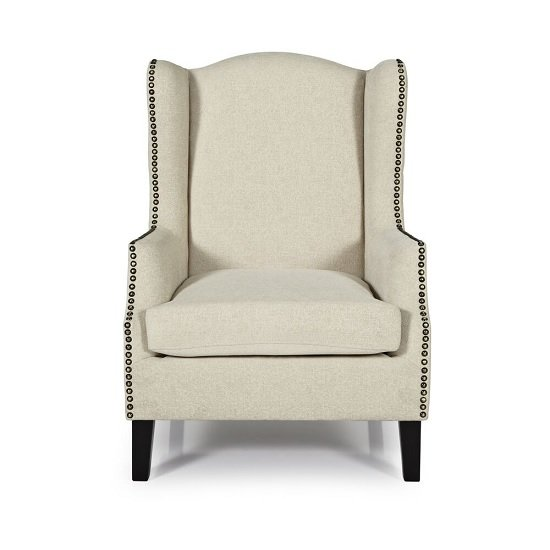 Argyle Fabric Lounge Chair In Cream With Wooden Legs_2