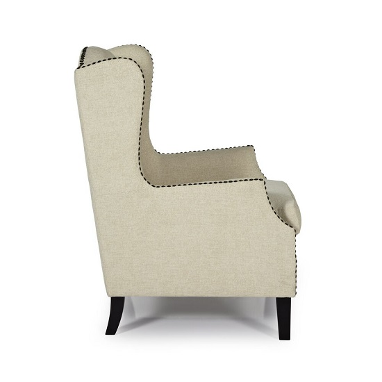 Argyle Fabric Lounge Chair In Cream With Wooden Legs_3