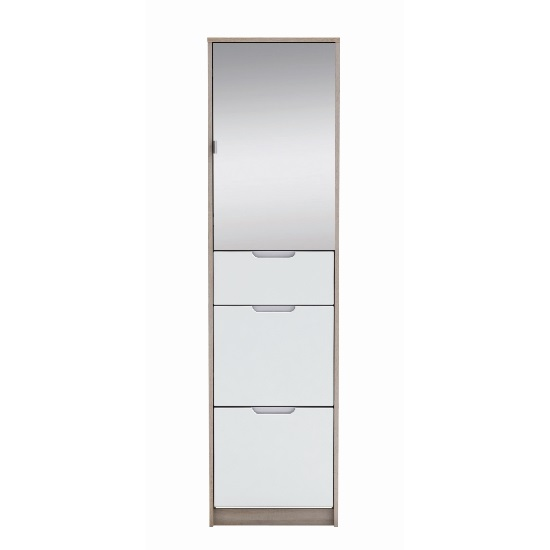 Photo of Aria wardrobe and shoe cabinet in brushed oak and white gloss