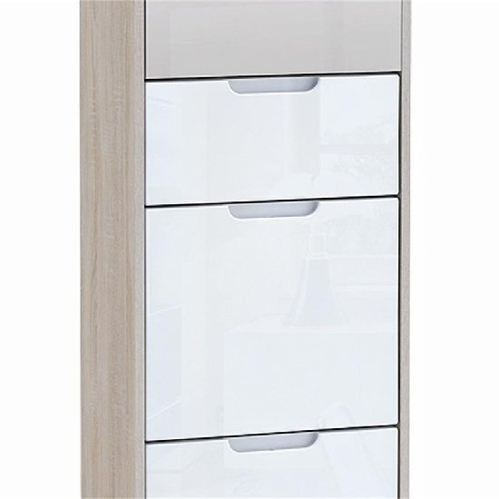 Aria Wardrobe And Shoe Cabinet In Brushed Oak And White Gloss_3
