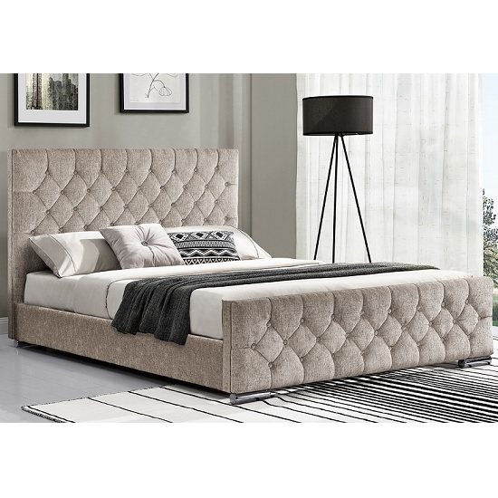 Ariana Fabric Double Bed In Mink With Chrome Legs