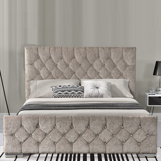 Ariana Fabric King Size Bed In Mink With Chrome Legs_2